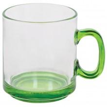 """Кружка """"Joyful"""",прозрачная с зеленым,300мл,стекло"""