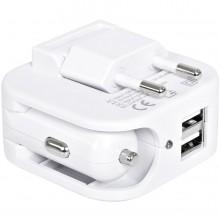 """Адаптер с двумя USB-портами для зарядки от сети и от прикуривателя """"Socket"""",6x5,7x4см"""