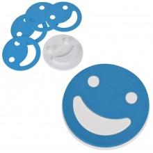 """Набор подставок под кружку """"Улыбнись!"""" (4шт.),голубой, D=12,5см,Н=1,7см, пластик"""