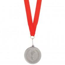"""Медаль наградная на ленте """"Серебро""""; 48 см., D=5см.; текстиль, металл; лазерная гравировка, шелкогра"""