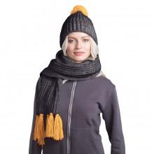 GoSnow, вязаный комплект шарф и шапка, антрацит c фурнитурой золотой