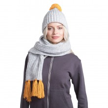 GoSnow, вязаный комплект шарф и шапка, меланж c фурнитурой золотой