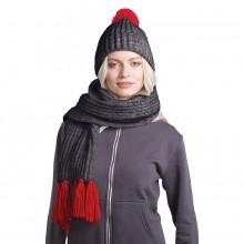 GoSnow, вязаный комплект шарф и шапка, антрацит c фурнитурой красный
