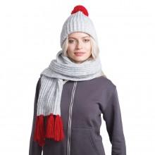 GoSnow, вязаный комплект шарф и шапка, меланж c фурнитурой красный