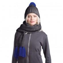 GoSnow, вязаный комплект шарф и шапка, антрацит c фурнитурой синий