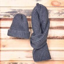 GoSnow, вязаный комплект шарф и шапка, антрацит без фурнитуры