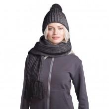 GoSnow, вязаный комплект шарф и шапка, антрацит c фурнитурой антрацит