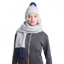 GoSnow, вязаный комплект шарф и шапка, меланж c фурнитурой темно-синий