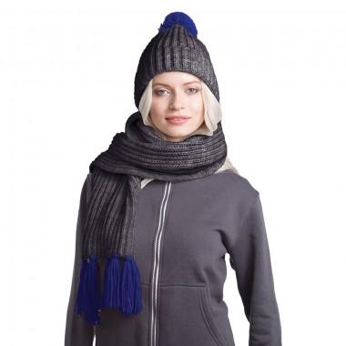 GoSnow, вязаный комплект шарф и шапка, антрацит c фурнитурой темно-синий