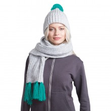 GoSnow, вязаный комплект шарф и шапка, меланж c фурнитурой бирюзовый