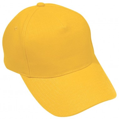 """Бейсболка """"Hit"""", 5 клиньев, застежка на липучке; желтый; 100% п/э; плотность 135 г/м2"""