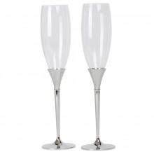 """Бокалы для шампанского """"Asti"""" (2шт), D=7см, Н=28,5см, стекло, посеребренный металл, лаковое покрыт"""