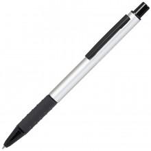 CACTUS, ручка шариковая, серебристый/черный, алюминий, прорезиненный грип