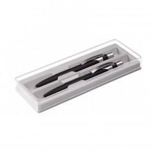 ALPHA SET, набор в футляре:ручка шариковая и карандаш механический, черный/серебристый, металл/пласт