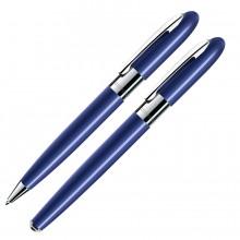 MOONLIGHT, набор: ручка шариковая и ручка-роллер (без футляра), синий/хром, металл