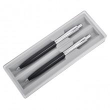 BUSINESS SET, набор: ручка шариковая и карандаш механический, черный/серебристый, металл/пластик