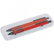 FUTURE, набор ручка и карандаш в прозрачном футляре, красный, металл/пластик