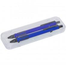 FUTURE, набор ручка и карандаш в прозрачном футляре, синий, металл/пластик