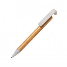 CLARION, ручка шариковая с подставкой для смартфона, бамбук, пластик с пшеничной соломой