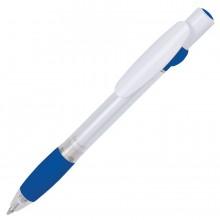 ALLEGRA SWING, ручка шариковая, синий/белый, прозрачный корпус, белый барабанчик, пластик