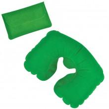 Подушка надувная дорожная в футляре; зеленый; 43,5х27,5 см; твил; шелкография