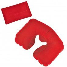 Подушка надувная дорожная в футляре; красный; 43,5х27,5 см; твил; шелкография