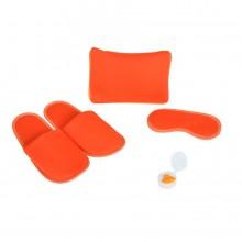 "Набор дорожный ""Релакс"": маска, беруши, тапки; оранжевый; 20х15 см; хлопок/нейлон"