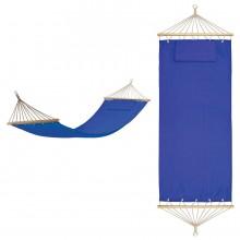 """Гамак с подушкой """"МАЙАМИ"""" , в сумке ; синий, 200х80см; хлопок, дерево, шелкография"""