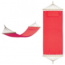 """Гамак с подушкой """"МАЙАМИ"""" , в сумке ; красный; 200х80см; хлопок, дерево, шелкография"""
