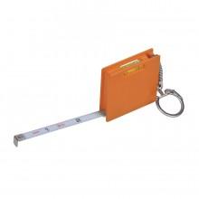 """Брелок """"Строитель"""" с рулеткой (1м) и уровнем, оранжевый, 4,3х4,3х1см, пластик"""