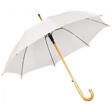 Зонт-трость с деревянной ручкой, полуавтомат; белый; D=103 см, L=90см; нейлон; шелкография