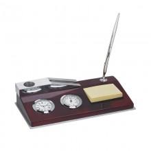 Набор настольный.Часы-термометр с ручкой, бумагой для записей и подставкой для визиток