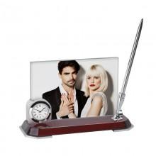 Набор настольный с часами, с ручкой и фоторамкой