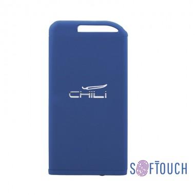 "Зарядное устройство ""Theta"", 6000 mAh, 2 выхода USB, темно-синий, покрытие soft touch"