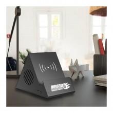 Bluetooth колонка-подставка 3Вт с беспроводным зарядным устройством и подсветкой логотипа