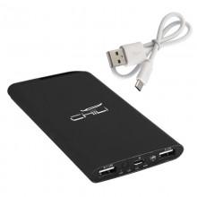 """Источник энергии универсальный """"Theta"""", 6000 mAh, 2 выхода USB, с фонариком, черный прорезиненный"""