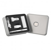 Набор POWERSET 5-в-1 в металлическом футляре, белый/белый прозрачный