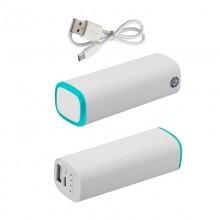 Источник энергии универсальный POWER+ ёмкостью 2600 mAh, белый/бирюзовый прозрачный