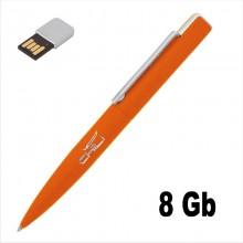 """Ручка шариковая """"Callisto"""" с флеш-картой на 8GB, оранжевый, прорезиненная поверхность"""