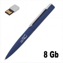 """Ручка шариковая """"Callisto"""" с флеш-картой на 8GB, темно-синий, прорезиненная поверхность"""