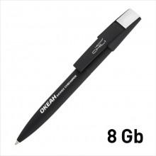 """Ручка шариковая """"Semiram"""" с флеш-картой на 8GB, черный, прорезиненная поверхность"""