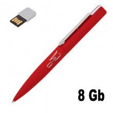 """Ручка шариковая """"Callisto"""" с флеш-картой на 8GB, красный, прорезиненная поверхность"""