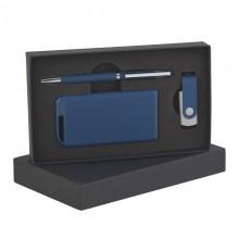 Набор ручка + флеш-карта 8Гб + источник энергии 4000 mAh в футляре, прорезиненный темно-синий
