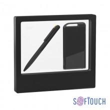 """Набор ручка """"Jupiter"""" + зарядник """"Theta"""" 4000 mAh в футляре, черный/золото, покрытие soft touch"""