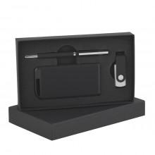 Набор ручка + флеш-карта 8Гб + источник энергии 4000 mAh в футляре, прорезиненный черный