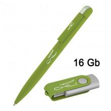 Набор ручка + флеш-карта 16 Гб в футляре, зеленое яблоко