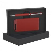Набор ручка + источник энергии 4000 mAh в футляре, прорезиненный красный