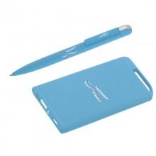 Набор ручка + источник энергии 4000 mAh в футляре, прорезиненный голубой