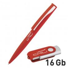 Набор ручка + флеш-карта 16 Гб в футляре, красный