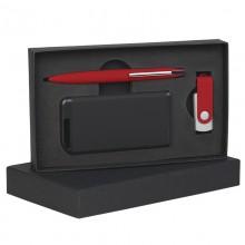 Набор ручка + флеш-карта 8Гб + источник энергии 4000 mAh в футляре, прорезиненный красный/черный
